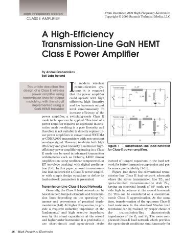 gan power amplifier thesis Design of power-scalable gallium nitride class e power amplifiers thesis submitted to the school of engineering of the university of dayton in partial fulfillment of the requirements for.