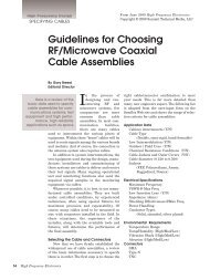 Guidelines for Choosing RF/Microwave Coaxial Cable Assemblies