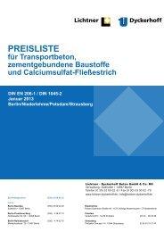 Preisliste 2013 - Lichtner-Dyckerhoff Beton GmbH & Co. KG