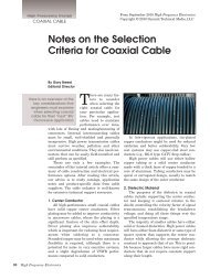 Notes on the Selection Criteria for Coaxial Cable - High Frequency ...
