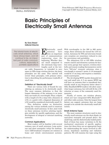 Basic Principles of Electrically Small Antennas - High Frequency ...