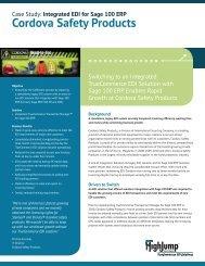 Cordova Safety Products Case Study (PDF) - HighJump Software, Inc.