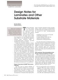 Design Notes for Laminates and Other Substrate Materials