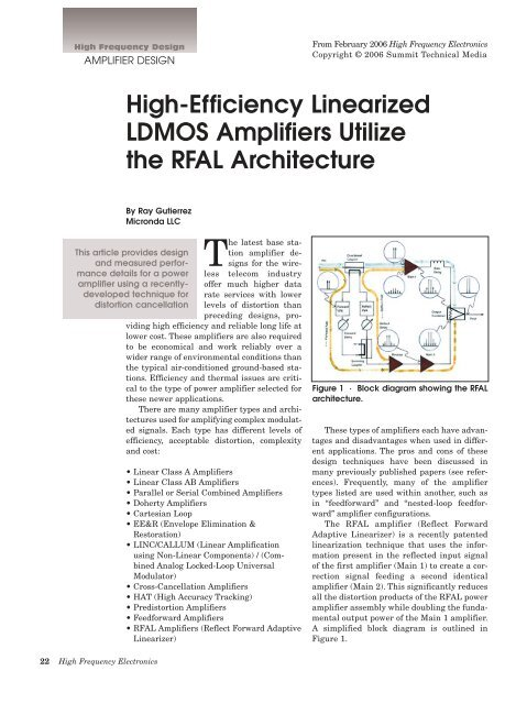 High-Efficiency Linearized LDMOS Amplifiers Utilize the RFAL