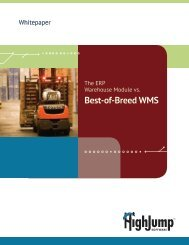 Whitepaper: ERP or Best-of-Breed WMS? - HighJump Software, Inc.