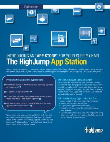 Download the HighJump App Station datasheet