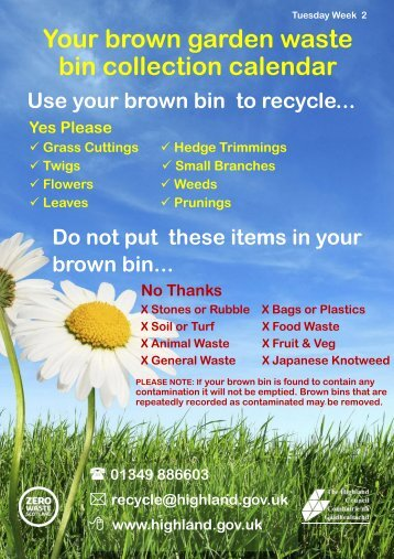 Brown bin calendar - The Highland Council