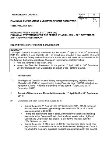 Highland Fresh Mussels Ltd (HFM) - Financial Statement for the ...