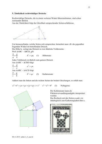 9. Ähnlichkeit rechtwinkliger Dreiecke Rechtwinklige Dreiecke, die ...