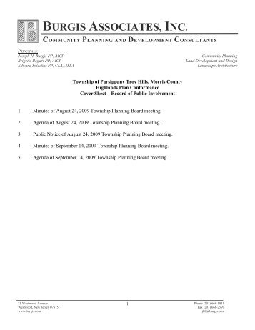 Record of Public Involvement - New Jersey Highlands Council