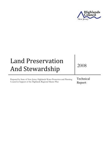 Land Preservation And Stewardship - New Jersey Highlands Council