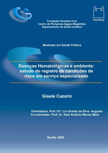 Doenças hematológicas e ambiente - Centro de Pesquisas Aggeu ...
