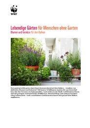 Lebendige Gärten für Menschen ohne Garten - WWF Schweiz