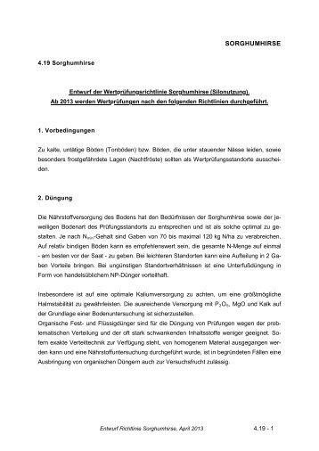 4.19 Sorghumhirse - Bundessortenamt