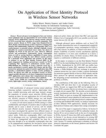 On Application of Host Identity Protocol in Wireless Sensor Networks