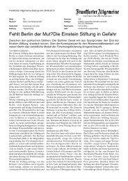 Fehlt Berlin der Mut?Die Einstein Stiftung in Gefahr - ZIB