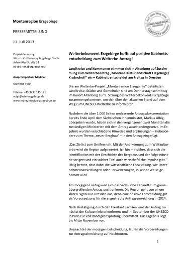 9. Sitzung Welterbekonvent - Wirtschaftsförderung Erzgebirge GmbH