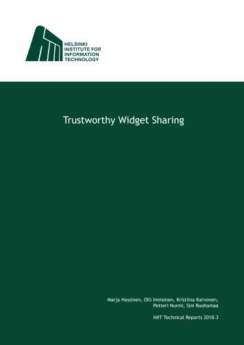 Trustworthy Widget Sharing - Future Internet