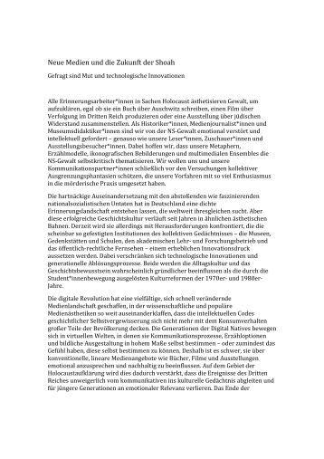Kannsteiner_Neue Medien und die Zukunft der Shoah