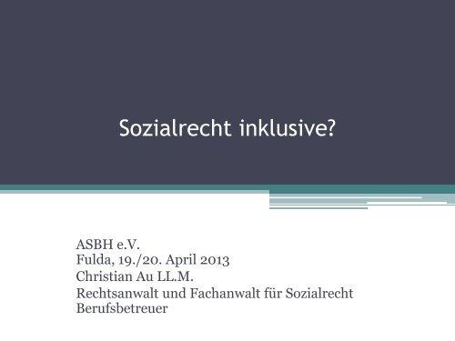 Sozialrecht inklusive? - ASbH