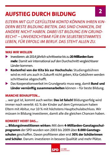 aufstieG DurcH BilDunG 2 - SPD