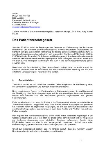 """Ausführlicher Artikel """"Das Patientenrechtegesetz"""" mit ... - BDC"""