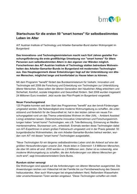 """""""smart homes"""" für selbstbestimmtes Leben im Alter - AIT Austrian ..."""