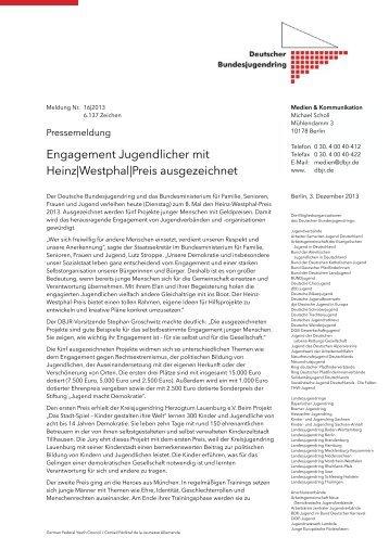 Pressemeldung 16|2013 Engagement Jugendlicher mit Heinz