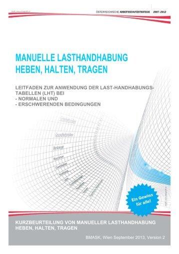 Leitfaden - Kurzbeurteilung von Heben, Halten ... - Arbeitsinspektion