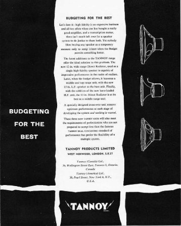 Tannoy 1957 brochure