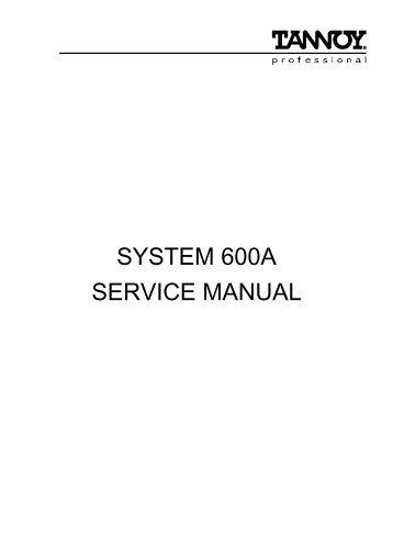 Tannoy Sytem 600A service manual (PDF format)
