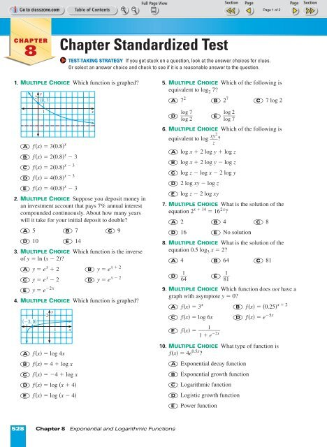 Chapter 8 Std  Test pages 528-529