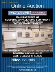 Online Auction Sale Of All Equipment And Inventory - Hilco Industrial