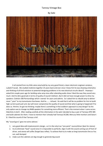 Tannoy Vintage Box By Sebi - The Hilberink Web