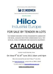 FOR SALE BY TENDER IN LOTS - Hilco Industrial