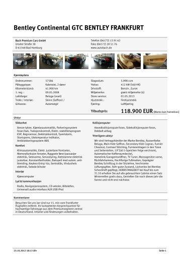 Bentley Continental GTC BENTLEY FRANKFURT Bach ... - AutoDo!