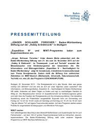 PRESSEMITTEILUNG - Baden-Württemberg Stiftung