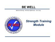 Strength Training Module BE WELL - Hill Air Force Base