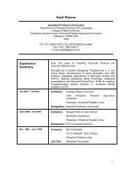 Kapil Resume - CSK Himachal Pradesh Agricultural University