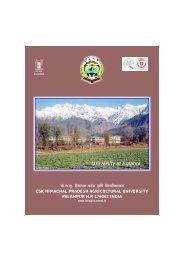University at a glance... - CSK Himachal Pradesh Agricultural ...