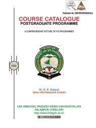 course catalogue - CSK Himachal Pradesh Agricultural University