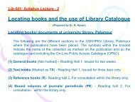 Locating books and the use of Library Catalogue - CSK Himachal ...