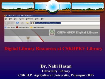 How to access the CSKHPKV, Palampur Digital Library
