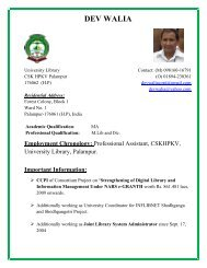 DEV WALIA - CSK Himachal Pradesh Agricultural University