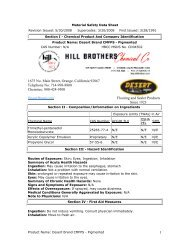 MSDS - Hill Brothers Chemical Co.