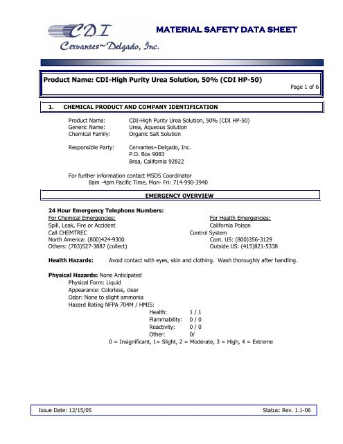 MSDS-HP 50% Urea Solution - Hill Brothers Chemical Co