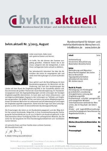 bvkm.aktuell Nr. 3/2013, August - Bundesverband für körper