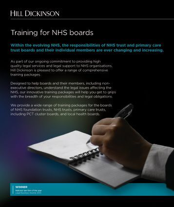Training for NHS trust boards - Hill Dickinson
