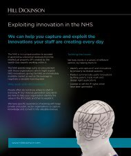 Exploiting innovation in the NHS - Hill Dickinson