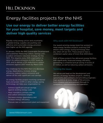 Energy facilities projects for the NHS - at a glance - Hill Dickinson